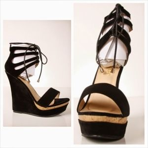Black tie up open toe wedge